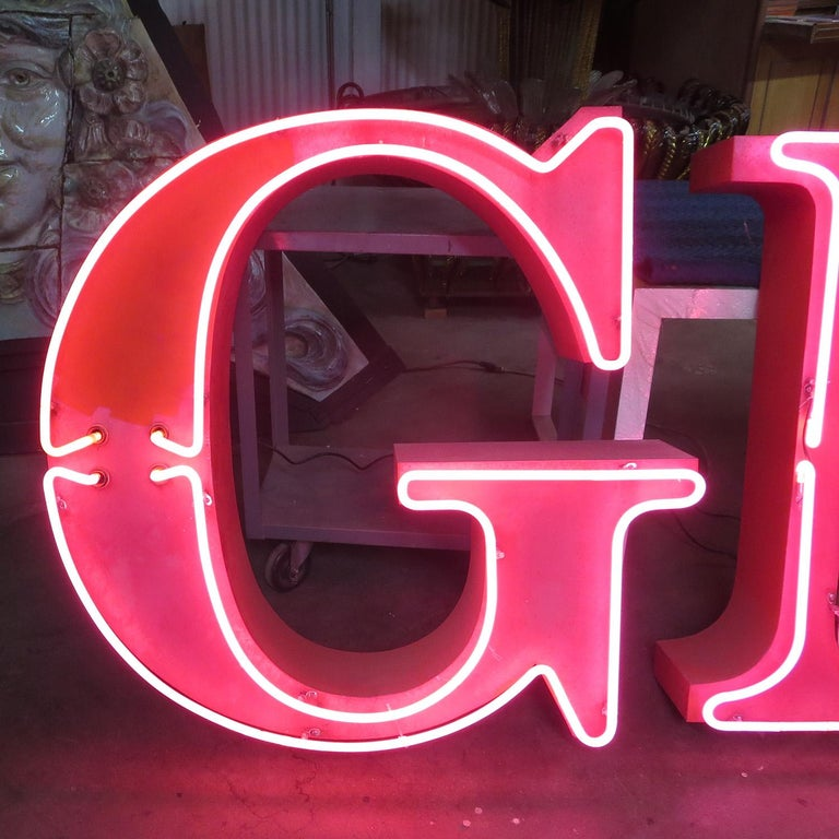 Mid-Century Modern GMC Automobiles Dealership Neon Sign For Sale