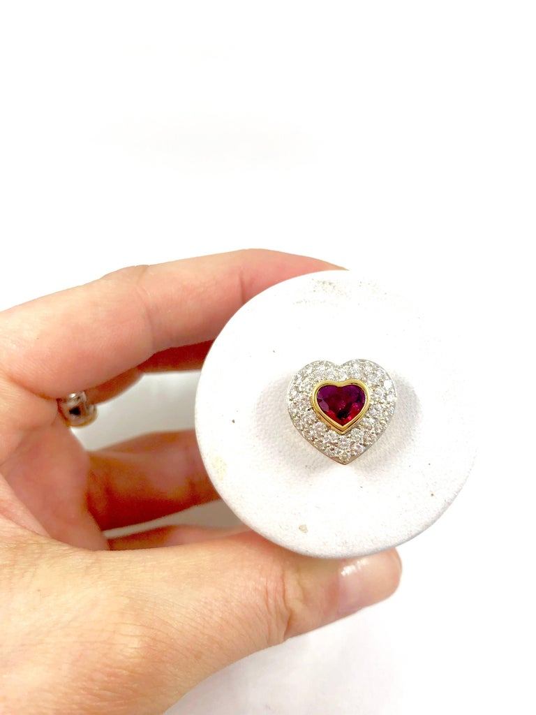 G.Minner Burma Ruby Diamonds Gold Heart Pendant For Sale 5