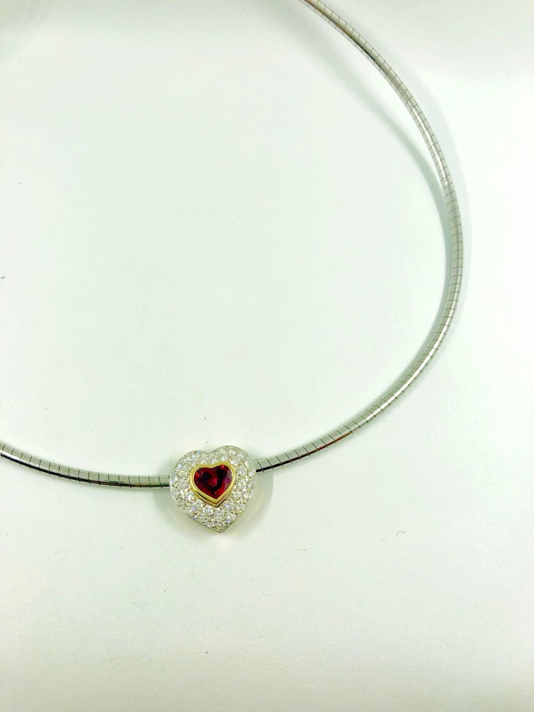 Round Cut G.Minner Burma Ruby Diamonds Gold Heart Pendant For Sale