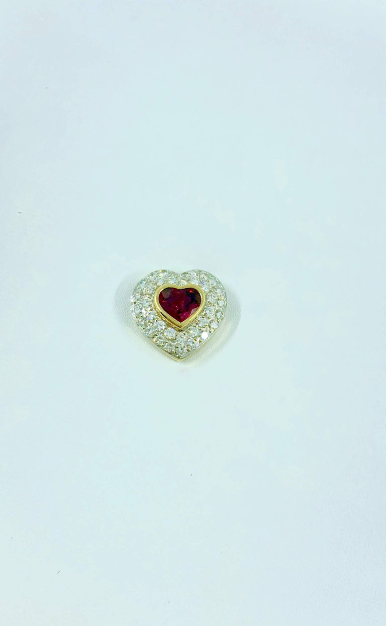 G.Minner Burma Ruby Diamonds Gold Heart Pendant In New Condition For Sale In Colmar, FR