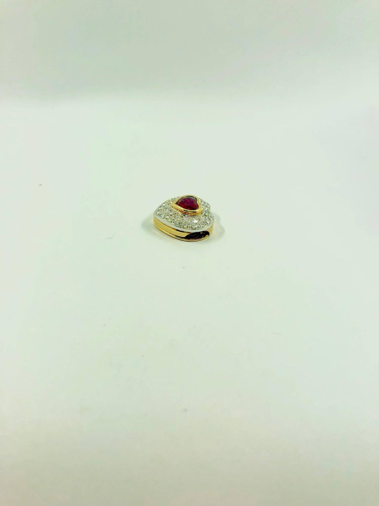 Women's G.Minner Burma Ruby Diamonds Gold Heart Pendant For Sale