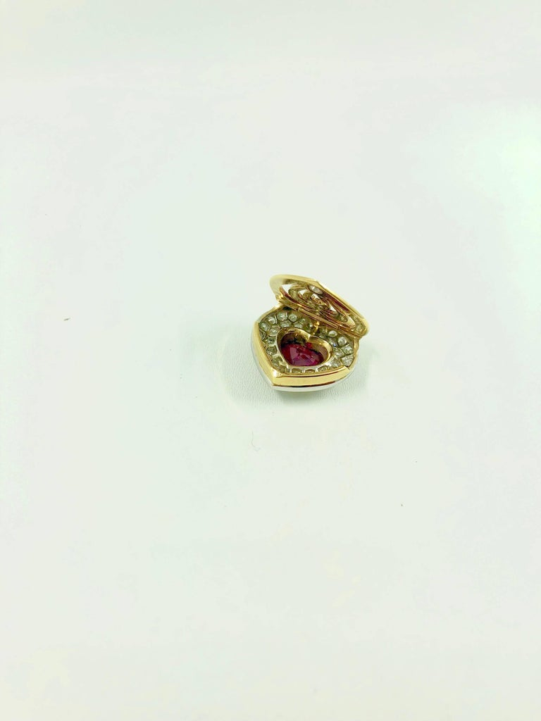 G.Minner Burma Ruby Diamonds Gold Heart Pendant For Sale 4