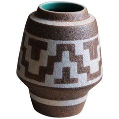 Gmundner Keramik, Vase, Beige / White / Green Stoneware, Austria, 1950s