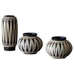 Gmundner Keramik, Vases, Black-Painted Stoneware, Raffia, Austria, 1950s
