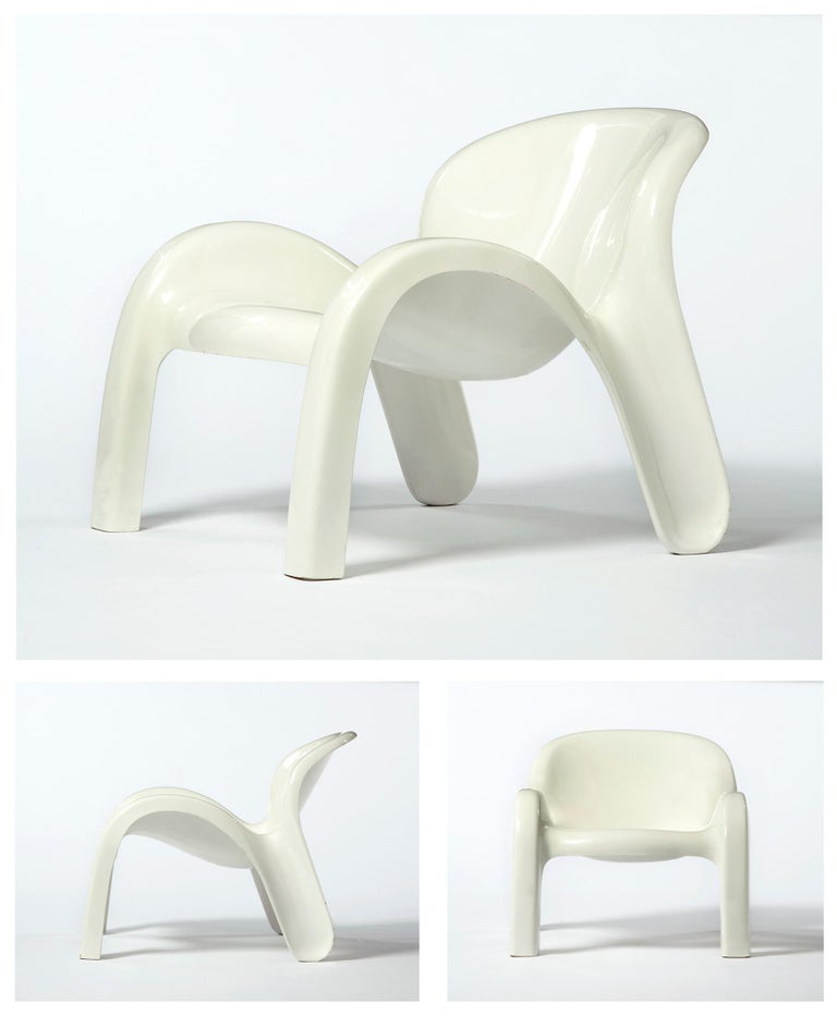 Late 20th Century GN2 White Plastic Lounge Chair by Peter Ghyczy, 1970 For Sale