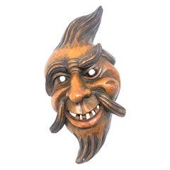 Gnome Folk Art Black Forest Brienz Hand Carved Wooden Mask Vintage Europe