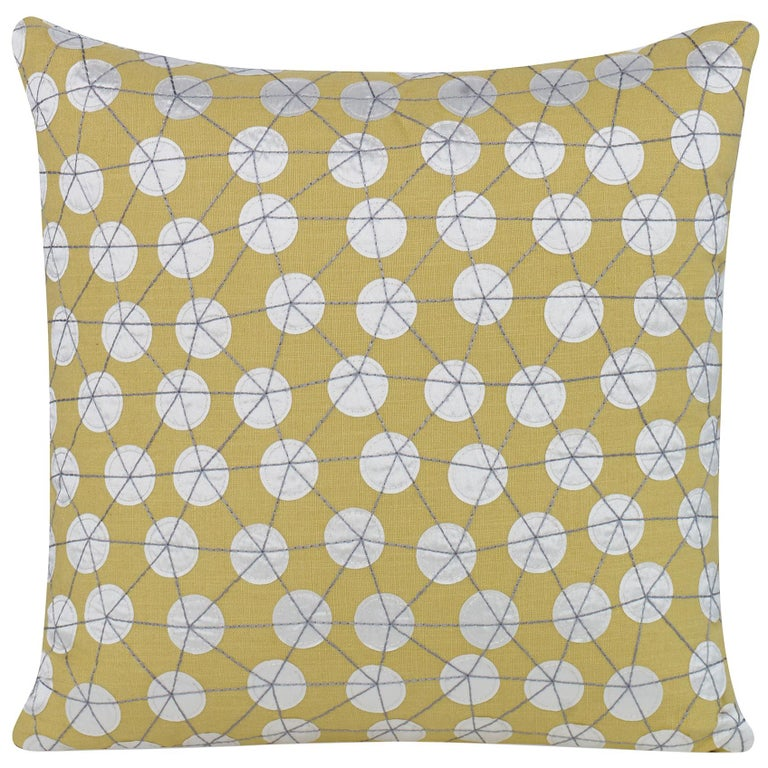 Goaround Pillow in Yellow and White by CuratedKravet For Sale