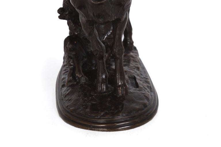 """Goat and Her Kids"" Antique French Bronze Sculpture by Emmanuel Fremiet, c 1860 For Sale 8"