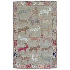 Goat Deer Animal Persian Gabbeh Rug, 20th Century