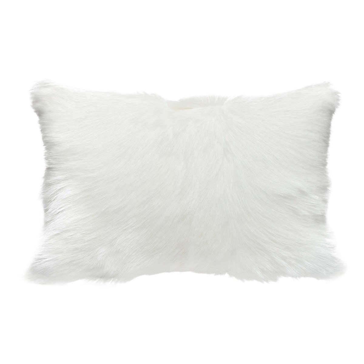 Goat Hair Pillow Fur Cushion, Natural White Customized