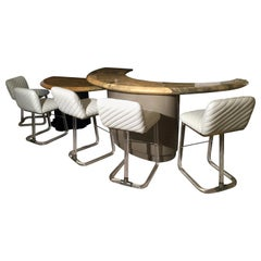 Goat Skin Bar, Custom Made, with a Set of Five Lion in Frost Lucite Bar Stools
