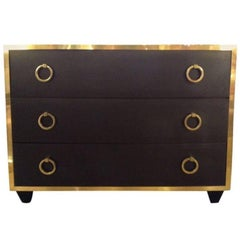 Goat Skin Brass Italian Luxury Goatskin and Brass Three-Drawer Dresser