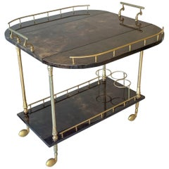 Goat Skin Parchment Bar Cart by Aldo Tura, circa 1950s, Italy