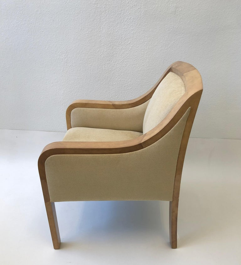 """Spectacular 1980's Regency lounge chair in the manner of Karl Springer.  Out of an estate design by Steve Chase. In original condition, so it shows minor wear consistent with age.  Measurements: 25"""" deep, 27"""" wide, 34.25"""" high and 19"""" seat."""