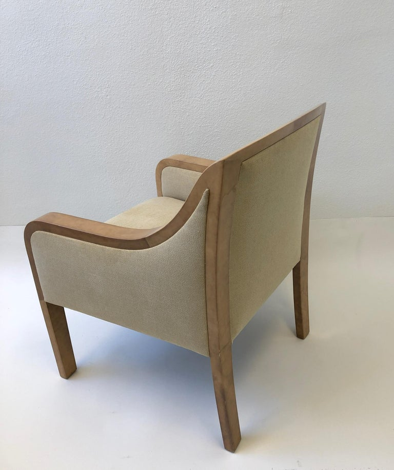 Modern Goatskin and Fabric Regency Lounge Chair in the Manner of Karl Springer For Sale