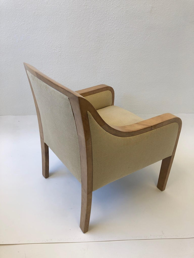 American Goatskin and Fabric Regency Lounge Chair in the Manner of Karl Springer For Sale