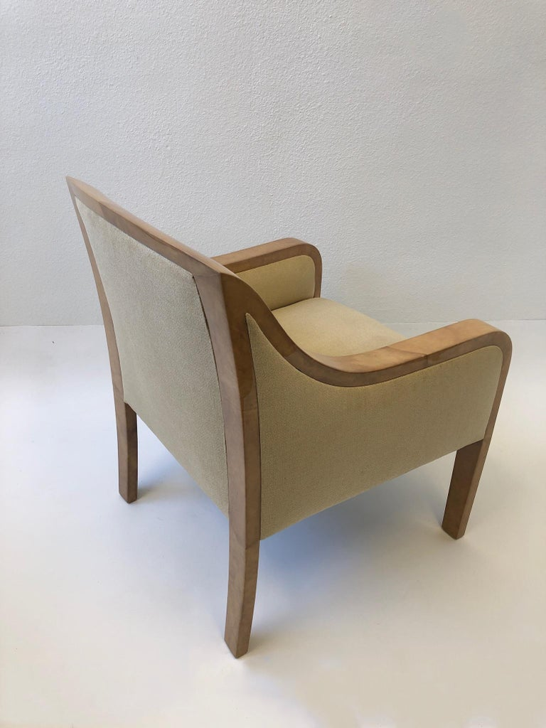 Goatskin and Fabric Regency Lounge Chair in the Manner of Karl Springer In Good Condition For Sale In Palm Springs, CA