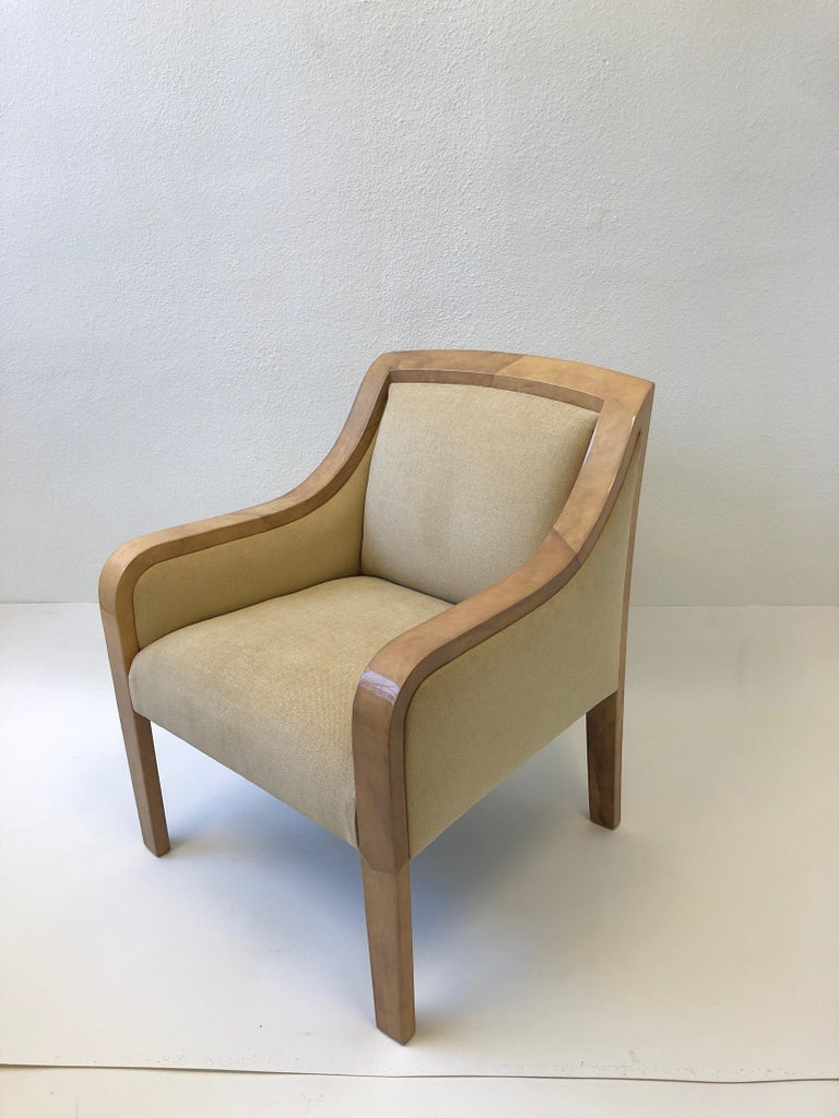 Late 20th Century Goatskin and Fabric Regency Lounge Chair in the Manner of Karl Springer For Sale