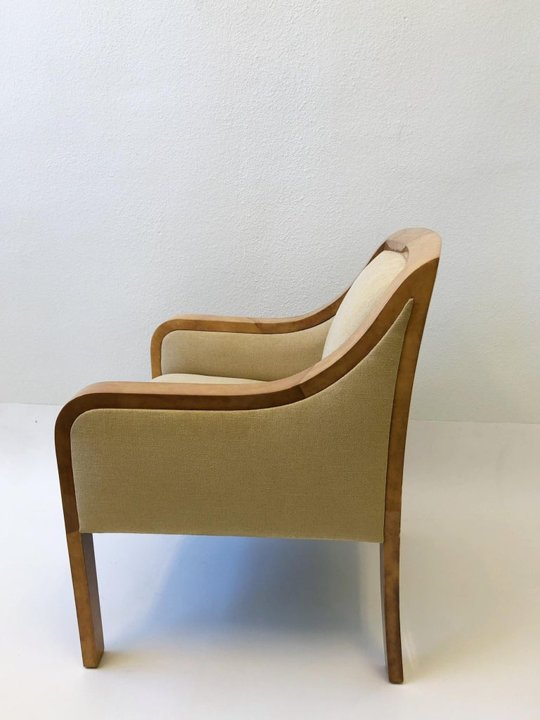Goatskin and Fabric Regency Lounge Chair in the Manner of Karl Springer For Sale 2