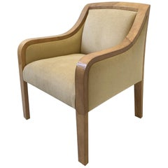 Goatskin and Fabric Regency Lounge Chair in the Manner of Karl Springer