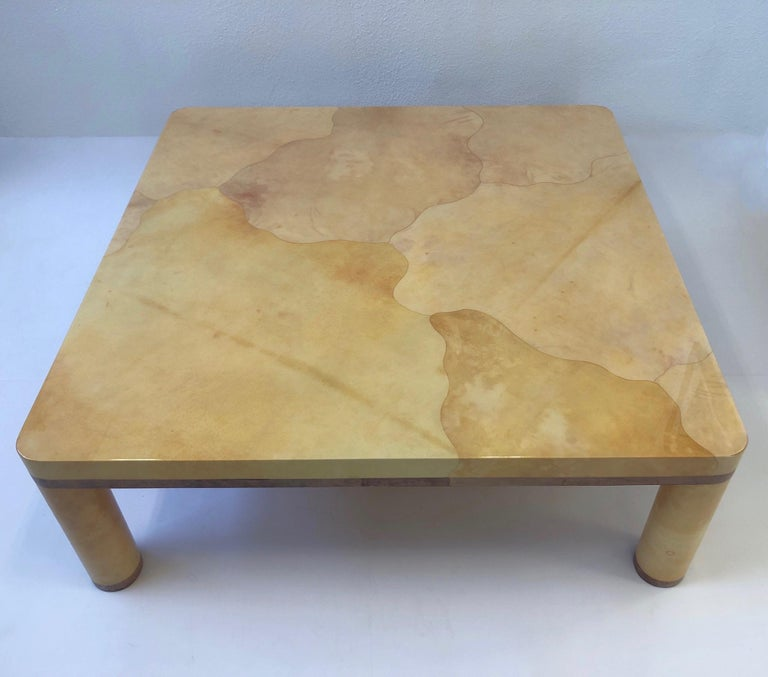 Modern Goatskin Cocktail Table in the style of Karl Springer For Sale