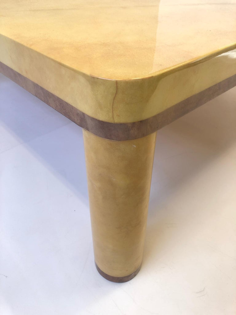 Lacquered Goatskin Cocktail Table in the style of Karl Springer For Sale