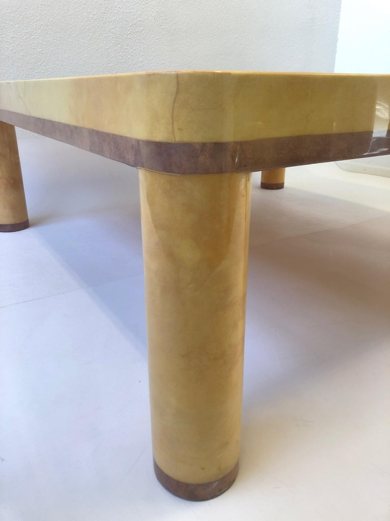 Goatskin Cocktail Table in the style of Karl Springer In Good Condition For Sale In Palm Springs, CA