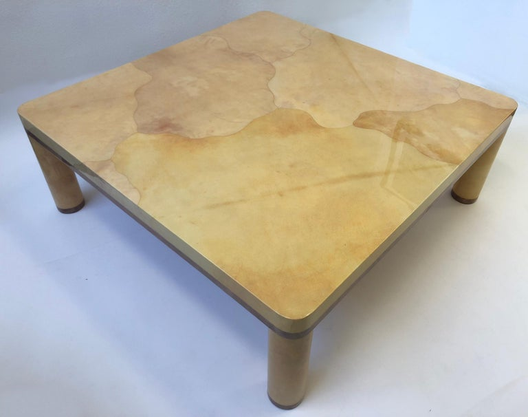 Wood Goatskin Cocktail Table in the style of Karl Springer For Sale