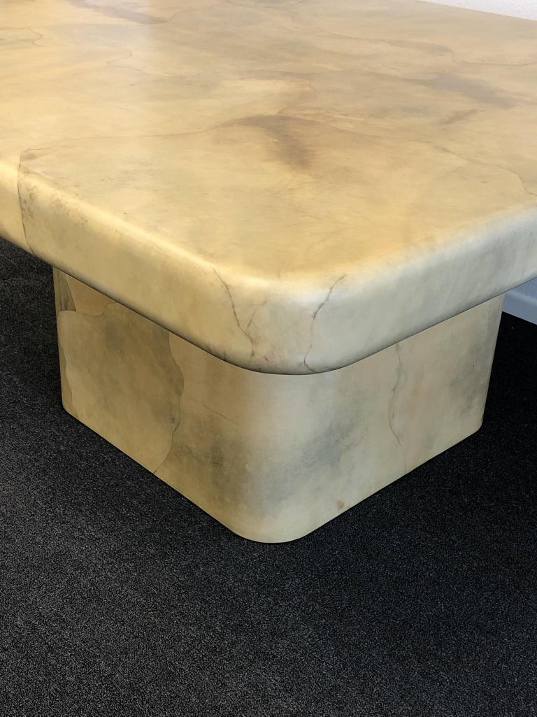Lacquered Goatskin Dining Table by Karl Springer For Sale