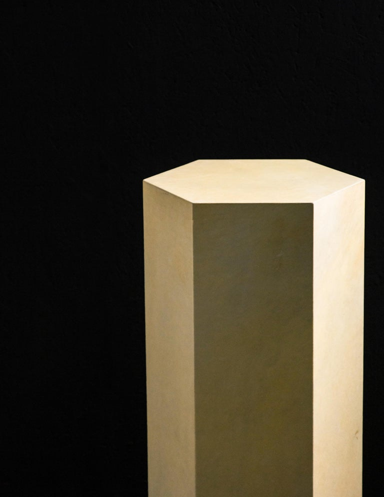 Goatskin Modern Minimal Side Table by Costantini, Pergamino Hex Alto, In Stock For Sale 4