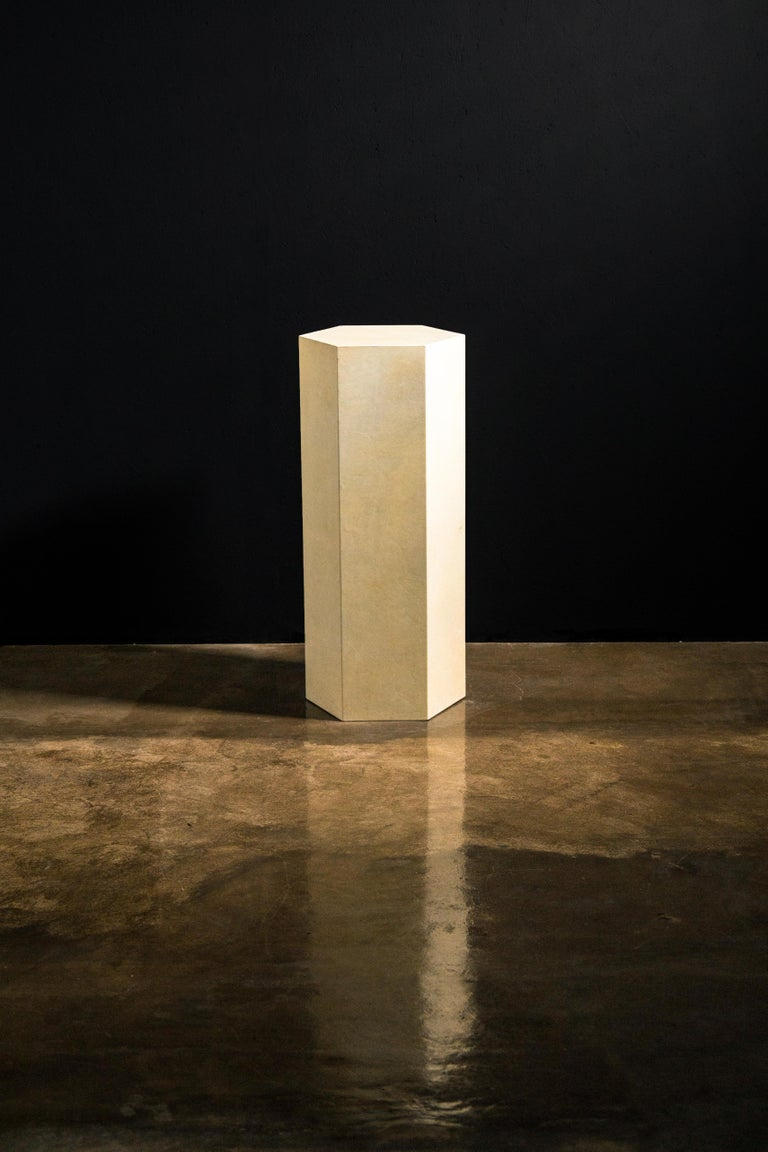 Goatskin Modern Minimal Side Table by Costantini, Pergamino Hex Alto, In Stock For Sale 5
