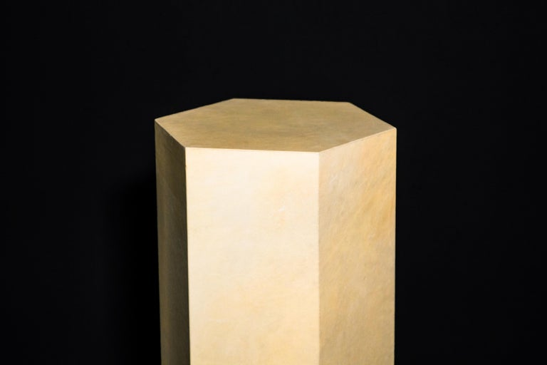 Goatskin Modern Minimal Side Table by Costantini, Pergamino Hex Alto, In Stock For Sale 6