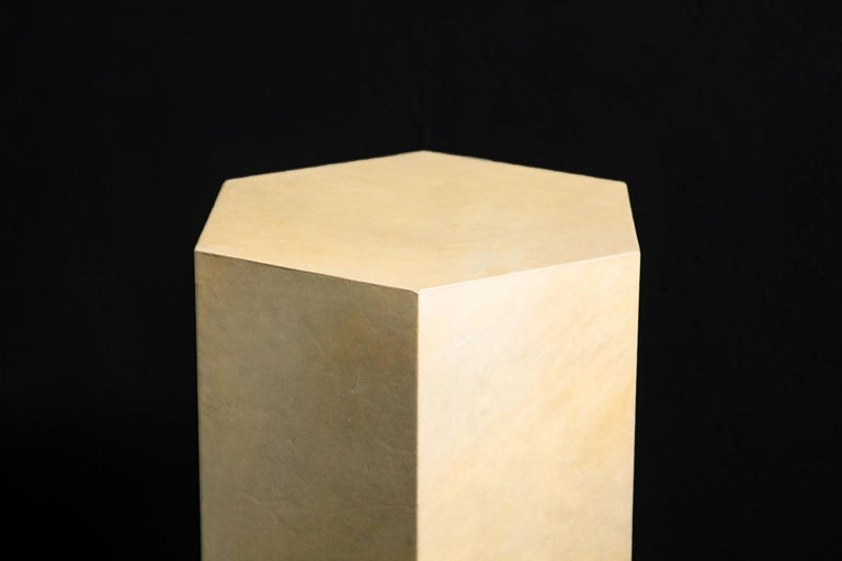 Goatskin Modern Minimal Side Table by Costantini, Pergamino Hex Alto, In Stock For Sale 7