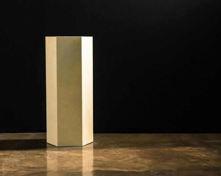 Argentine Goatskin Modern Minimal Side Table by Costantini, Pergamino Hex Alto, In Stock For Sale