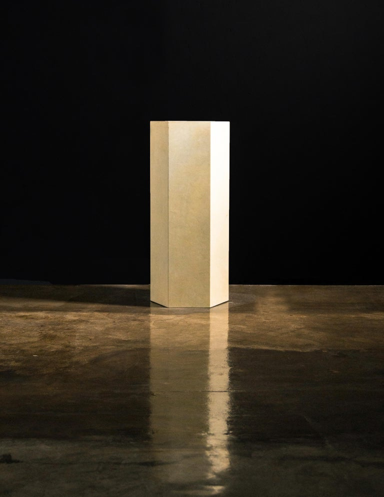 Woodwork Goatskin Modern Minimal Side Table by Costantini, Pergamino Hex Alto, In Stock For Sale
