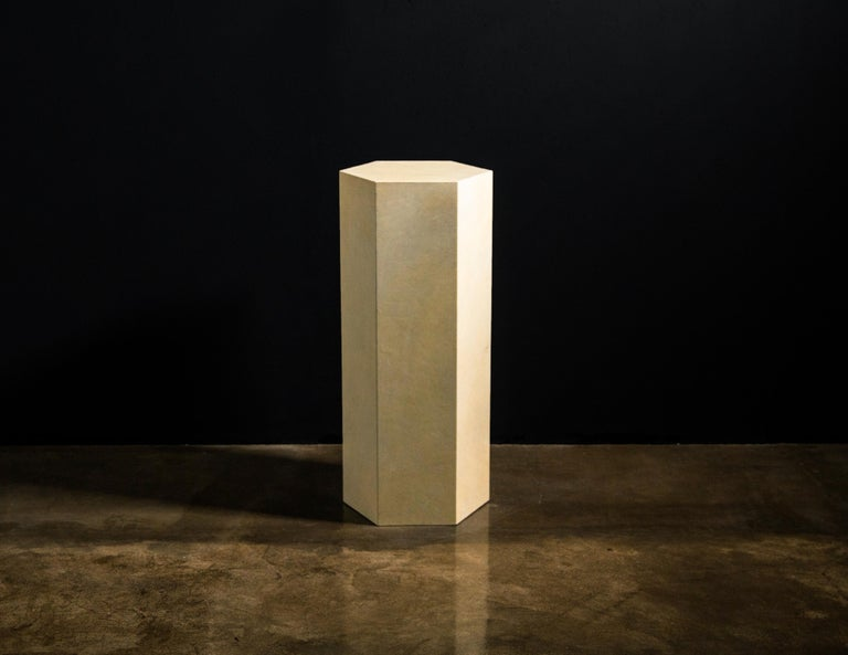 Goatskin Modern Minimal Side Table by Costantini, Pergamino Hex Alto, In Stock In New Condition For Sale In New York, NY