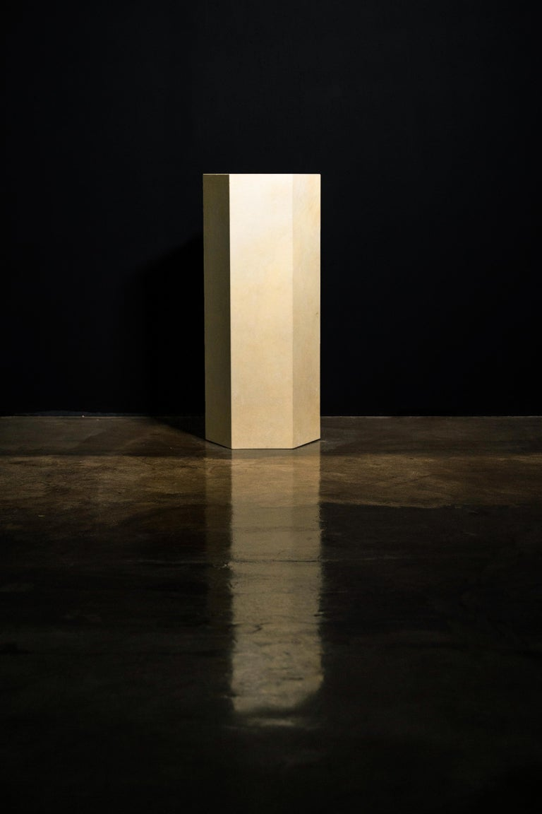 Contemporary Goatskin Modern Minimal Side Table by Costantini, Pergamino Hex Alto, In Stock For Sale