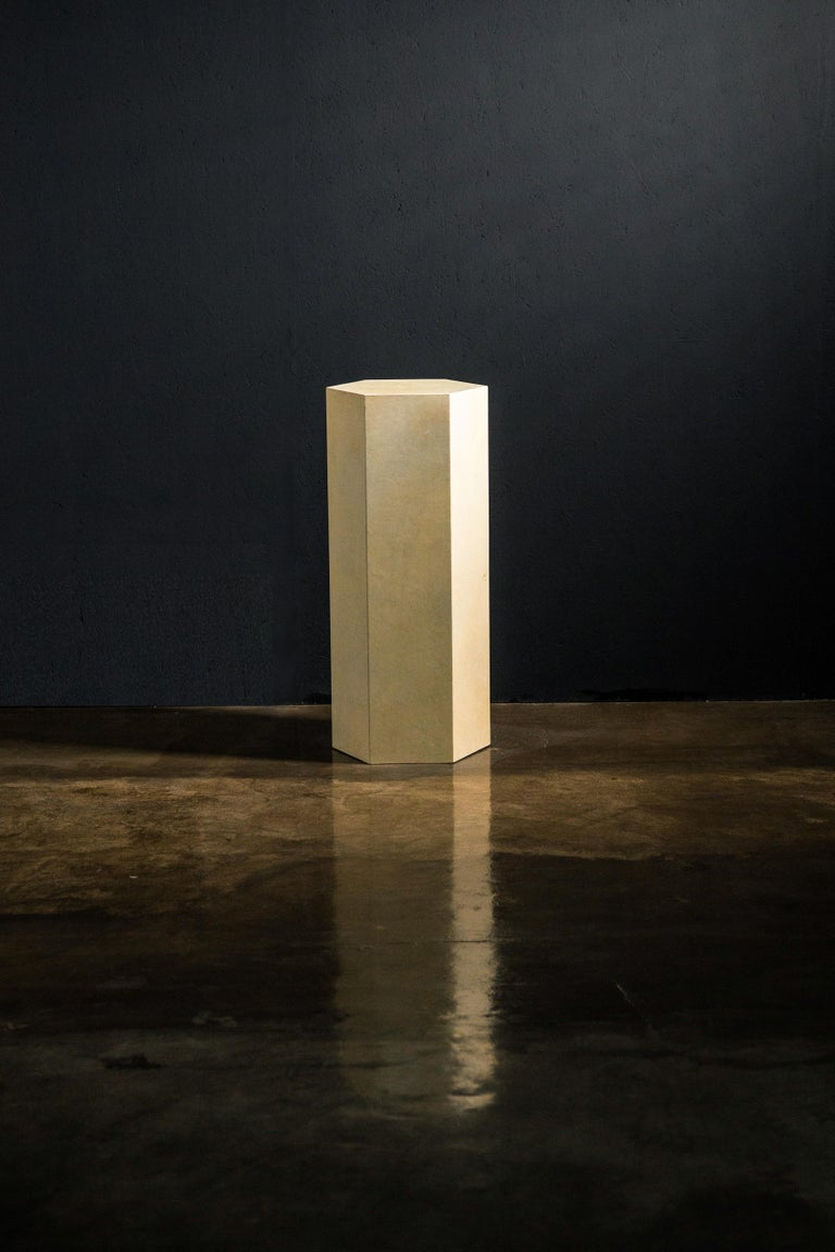 Goatskin Modern Minimal Side Table by Costantini, Pergamino Hex Alto, In Stock For Sale 1