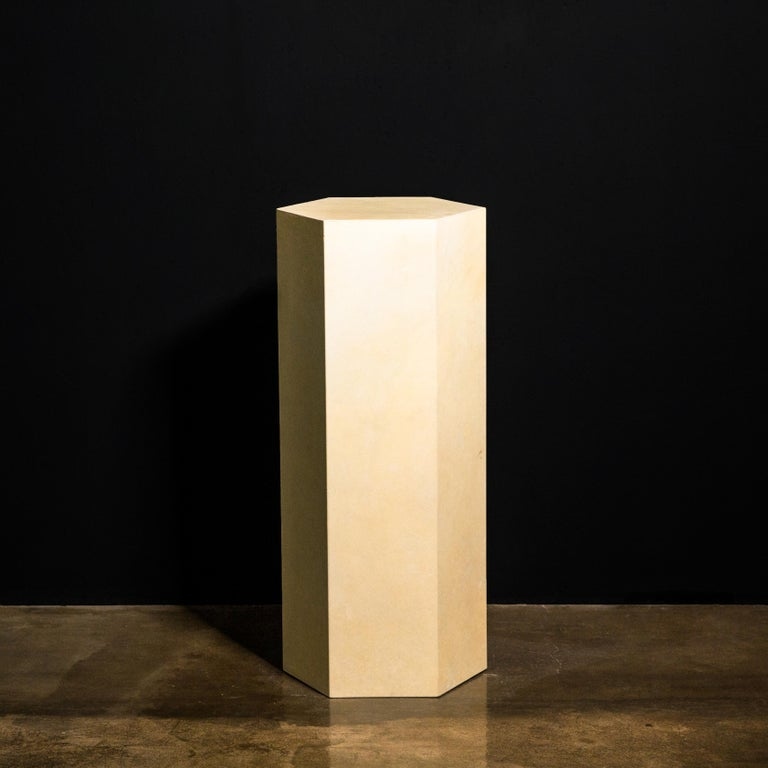 Goatskin Modern Minimal Side Table by Costantini, Pergamino Hex Alto, In Stock For Sale 2