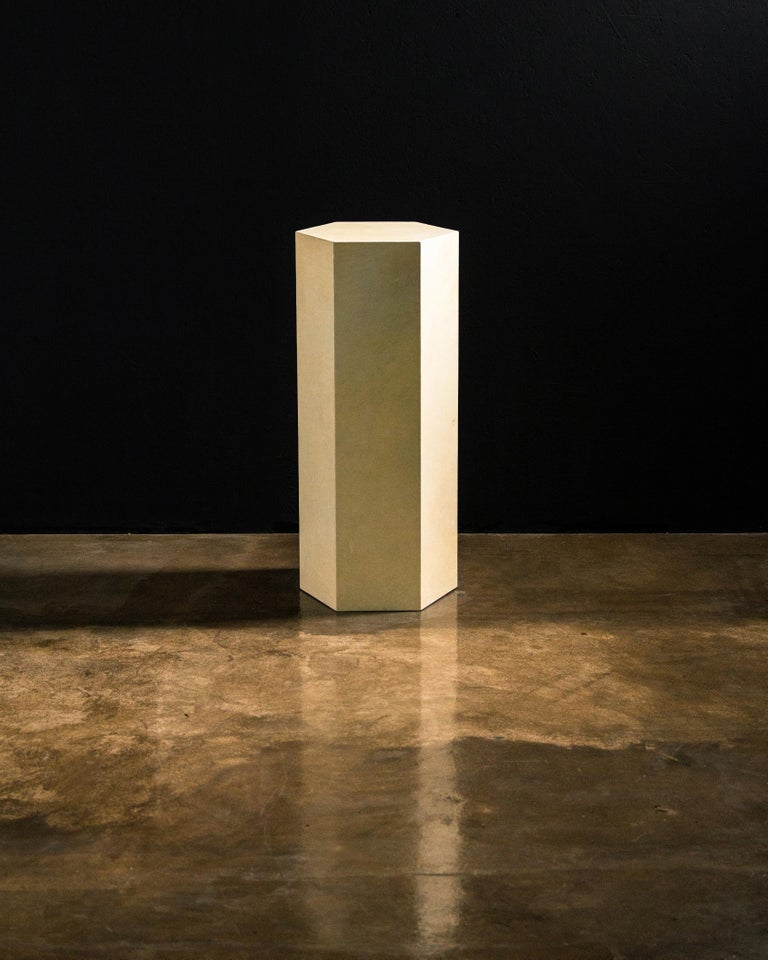 Goatskin Modern Minimal Side Table by Costantini, Pergamino Hex Alto, In Stock For Sale 3