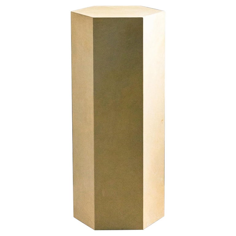 Goatskin Modern Minimal Side Table by Costantini, Pergamino Hex Alto, In Stock For Sale