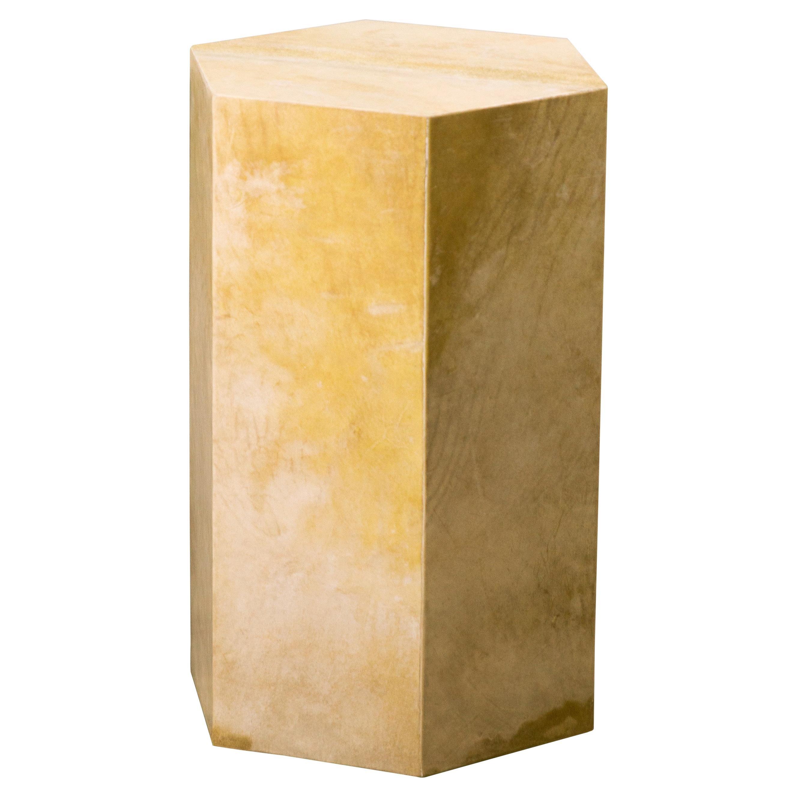Goatskin Modern Minimal Side Table from Costantini, Pergamino Hex 'In Stock'