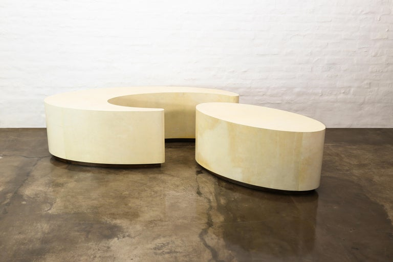 Argentine Goatskin Modern Sculptural Nesting Cocktail Tables from Costantini, Cadenza For Sale