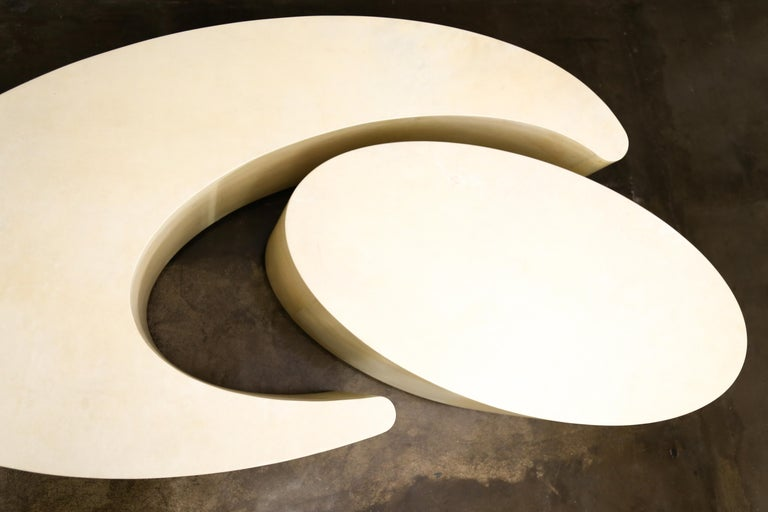 Woodwork Goatskin Modern Sculptural Nesting Cocktail Tables from Costantini, Cadenza For Sale