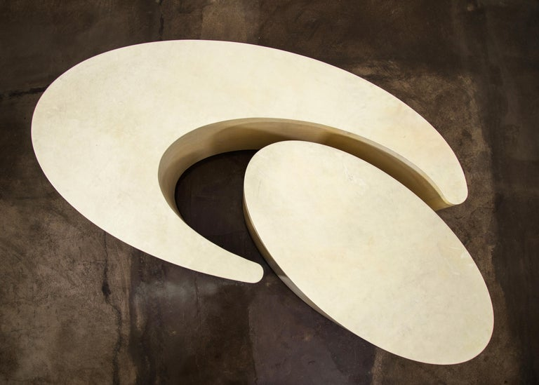 Goatskin Modern Sculptural Nesting Cocktail Tables from Costantini, Cadenza In New Condition For Sale In New York, NY