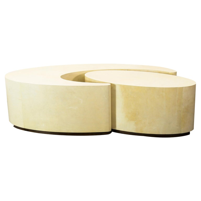 Goatskin Modern Sculptural Nesting Cocktail Tables from Costantini, Cadenza For Sale