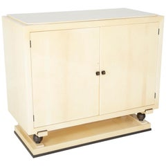Goatskin Parchment Two-Door Cabinet with Bronze Pulls & Feet