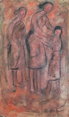 """In the Village, Gouache on Paper, Pink & Red color by Gobardhan Ash """"In Stock"""""""