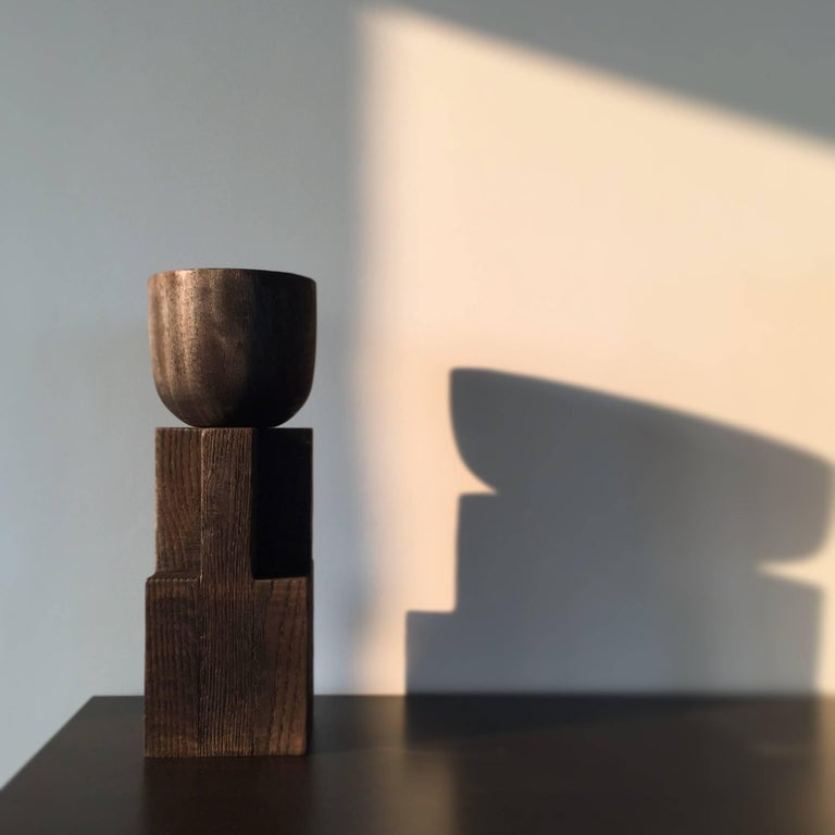 Modern Goblet Vase, Iroko and Oak, Signed Arno Declercq For Sale