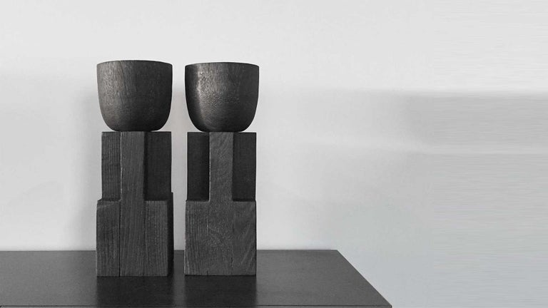 Belgian Goblet Vase, Iroko and Oak, Signed Arno Declercq For Sale